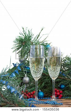 Christmas And New Year Composition, Champaign, Pine, Ornament