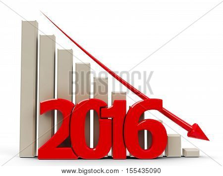 Red business graph with red arrow down represents decrease in the year 2016 three-dimensional rendering 3D illustration
