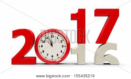 2016-2017 change with clock dial represents coming new year 2017 three-dimensional rendering 3D illustration