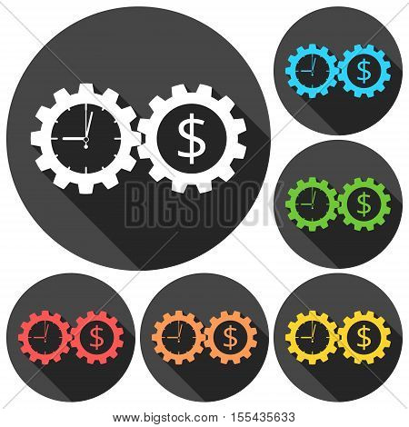 Time is money, Business gears concept icons set with long shadow