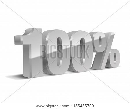 100% percent, 3D object, vector, eps10. Grey, silver sign of sale, quality, original, guarantee, natural