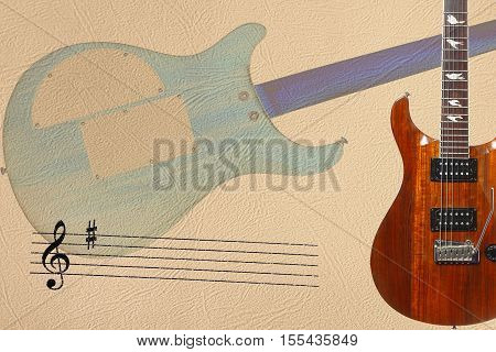 Stave and exotic wood electric guitar and back of guitar body on the right side of the light skin background.