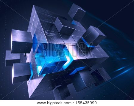 Technology business internet and communication concept - cube assembling from blocks. 3d render