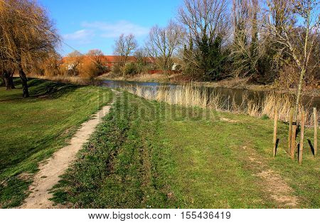 A pathway alongside the River Stour at Sandwich