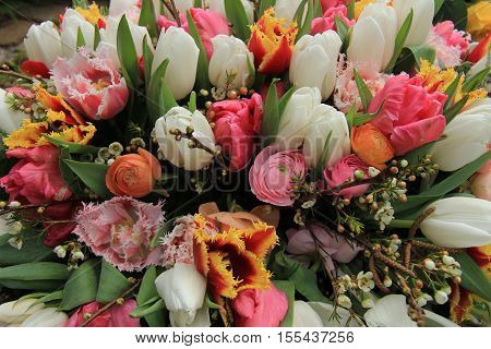 Spring flowers in various colors in a spring bouquet
