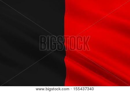 Flag of Aosta Valley is a mountainous semi-autonomous region in northwestern Italy. 3d illustration