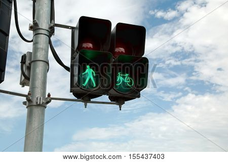 Green traffic light for pedestrians
