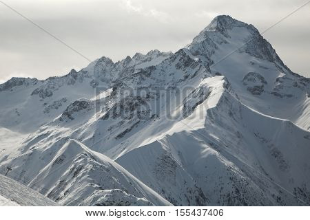 Snowy mountains in winter weather