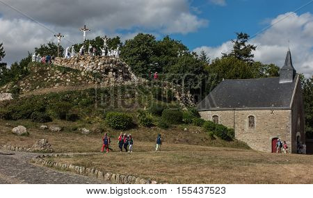 Pontchateau France - September 11 2016: Way of the Cross and Calvary built years ago by St. Louis Monfort in Pontchateau in France