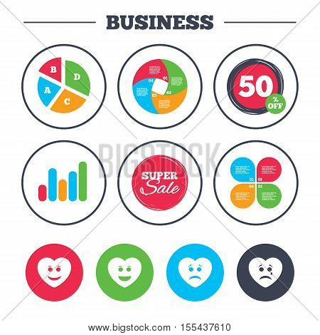 Business pie chart. Growth graph. Heart smile face icons. Happy, sad, cry signs. Happy smiley chat symbol. Sadness depression and crying signs. Super sale and discount buttons. Vector