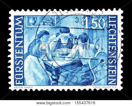 LIECHTENSTEIN - CIRCA 1960 : Cancelled postage stamp printed by Liechtenstein, that shows Agriculture.