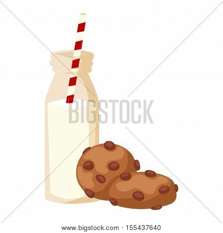 Glass of milk and cookies cup homemade drink isolated on white. Drink sweet snack chocolate milk and cookies. Breakfast beverage dessert dairy milk and cookies morning natural lifestyle.