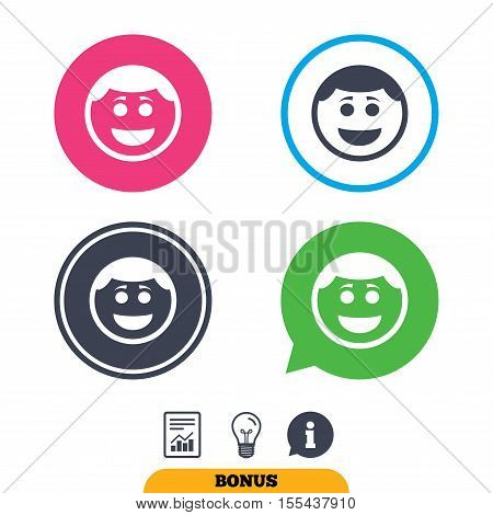 Smile face sign icon. Happy smiley with hairstyle chat symbol. Report document, information sign and light bulb icons. Vector