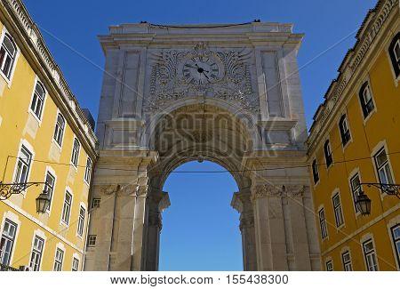 Beautiful view of Rua Augusta Arch, Lisbon. PORTUGAL.