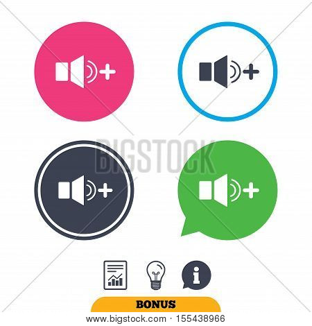 Speaker volume louder sign icon. Sound symbol. Report document, information sign and light bulb icons. Vector poster