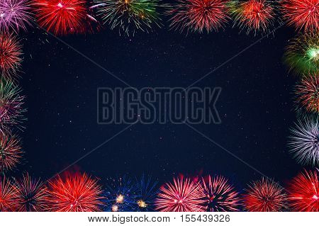 Amazing celebration multicolored sparkling fireworks frame. 4th of July beautiful fireworks. Independence Day Christmas New Year holidays salute.