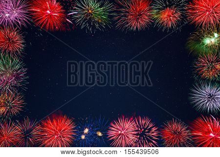 Celebration sparkling fireworks greeting card copy space. Independence Day 4th of July holidays salute. New Year beautiful celebration fireworks place for text.