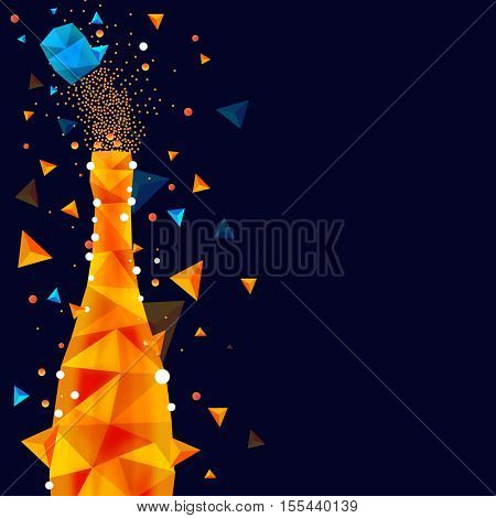 Creative champagne bottle in abstract low poly design style for party celebration.
