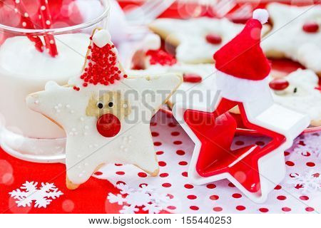 Christmas food. Santa cookies in Christmas setting. Xmas dessert