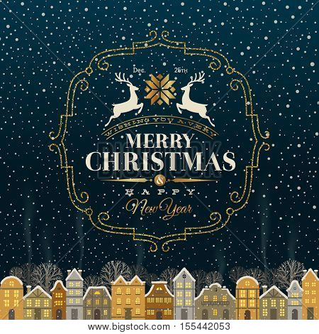 Christmas greeting card - Type design with glitter gold frame and snowbound winter town