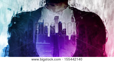 Corporate Dark Side of the City with Businessman 3d Illustration Render