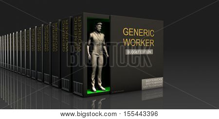 Generic Worker Endless Supply of Labor in Job Market Concept 3d Illustration Render