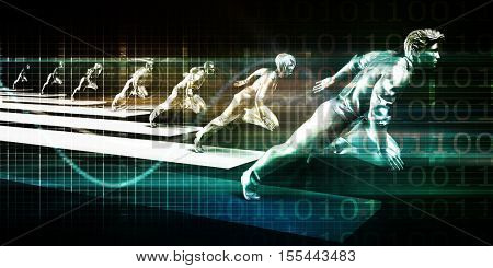 Business Growth Concept with Team Running in Unison 3d Illustration Render