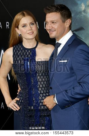 Amy Adams and Jeremy Renner at the Los Angeles premiere of 'Arrival' held at the Regency Village Theater in Westwood, USA on November 6, 2016.