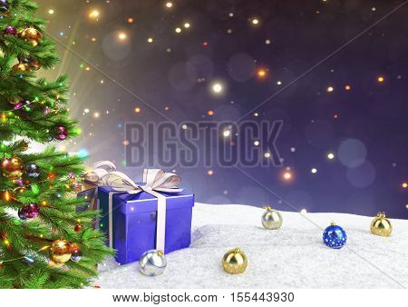 Christmas gifts in snow on blue bokeh background- 3D render.