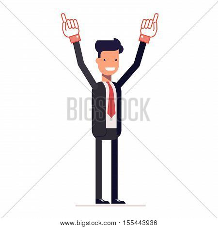 Smiling businessman or manager shows two hands up. A successful man in a business suit. Vector, illustration EPS10
