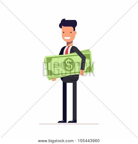 Businessman or manager with money in hand. The employee received a salary. Man with large amount of dollars.