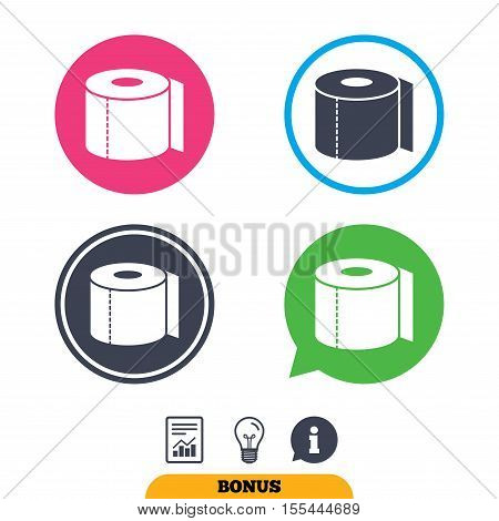 Toilet paper sign icon. WC roll symbol. Report document, information sign and light bulb icons. Vector
