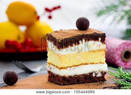 Delicious cake with chocolate and lemon Christmas dessert recipe