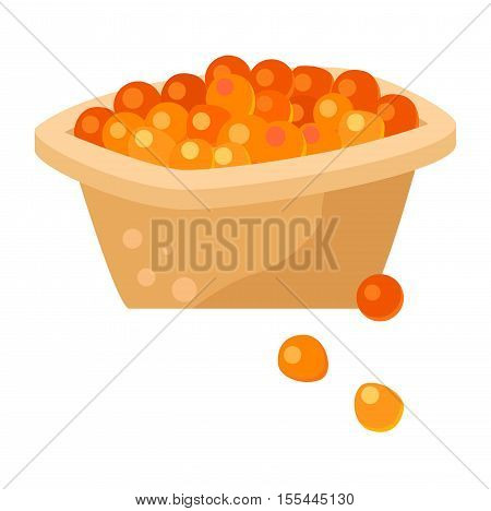 Tartlet with red caviar isolated on white background. Red caviar plate appetizer fish salmon luxury healthy food. Bread delicious prepared dinner red caviar plate roe salted lunch .