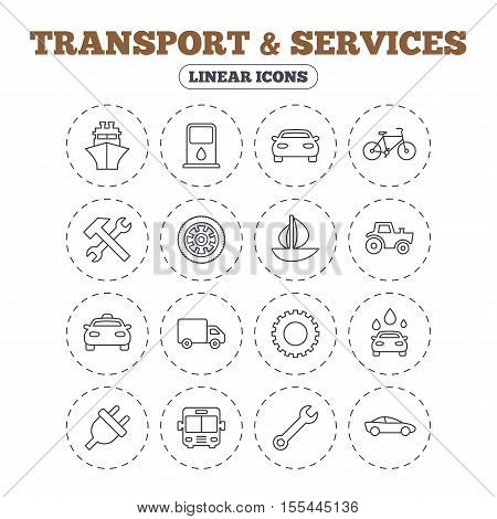 Transport and services icons. Ship, car and public bus, taxi. Repair hammer and wrench key, wheel and cogwheel. Sailboat and bicycle. Round flat buttons with linear icons. Vector
