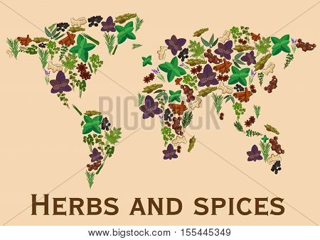 Herbs and spices flat icons in world map shape. Continents map of spice and herb ginger, basil, oregano, coriander, parsley and dill, thyme and mint, cinnamon and cloves, marjoram, tarragon, cilantro, rosemary. Kitchen vector decoration background