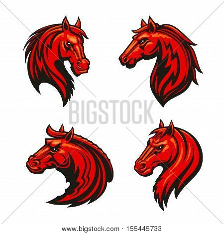 Horse head heraldic emblem for spot club, team. Graphic design label of fire red mustang stallion with spiky mane for horse racing sport club badge, tattoo poster