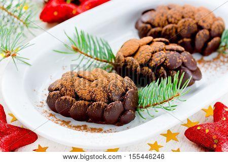 Chocolate dessert cake shaped cute Christmas pinecone
