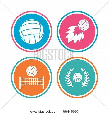Volleyball and net icons. Winner award laurel wreath symbols. Fireball and beach sport symbol. Colored circle buttons. Vector