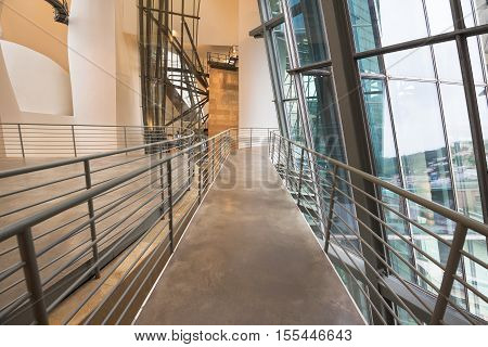 BILBAO SPAIN - OCTOBER 16: Interior of Guggenheim Museum on October 16 2016 in Bilbao Spain. is one of the most important museums in the world in the field of modern and contemporary art.