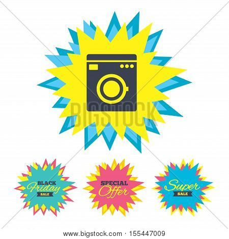 Sale stickers and banners. Washing machine icon. Home appliances symbol. Star labels. Vector