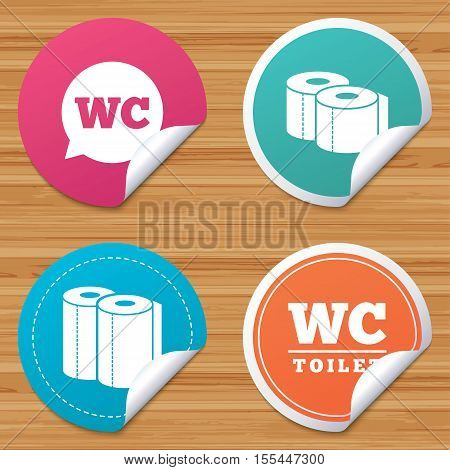 Round stickers or website banners. Toilet paper icons. Gents and ladies room signs. Paper towel or kitchen roll. Speech bubble symbol. Circle badges with bended corner. Vector