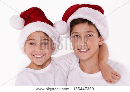 Kids In Santa Claus Hat.