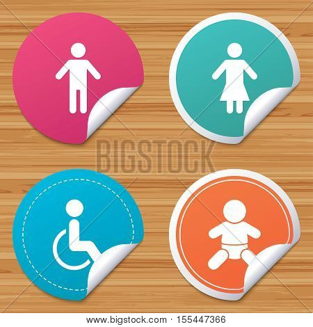 Round stickers or website banners. WC toilet icons. Human male or female signs. Baby infant or toddler. Disabled handicapped invalid symbol. Circle badges with bended corner. Vector