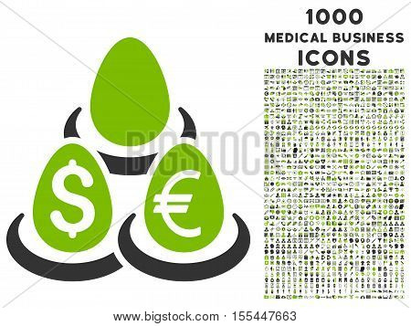 Currency Deposit Diversification vector bicolor icon with 1000 medical business icons. Set style is flat pictograms, eco green and gray colors, white background.