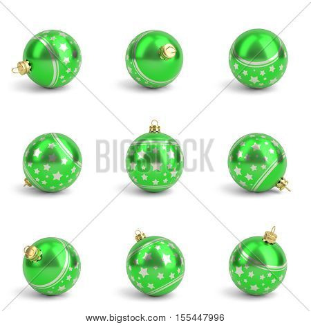 Collection of green christmas balls from different angles. White isolated - 3D render