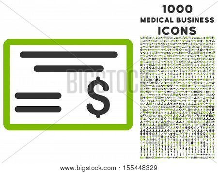 Dollar Cheque vector bicolor icon with 1000 medical business icons. Set style is flat pictograms, eco green and gray colors, white background.