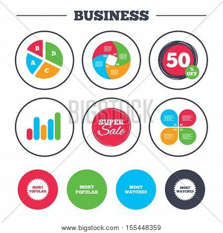 Business pie chart. Growth graph. Most popular star icon. Most watched symbols. Clients or users choice signs. Super sale and discount buttons. Vector