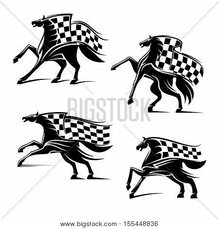 Racing sport emblems. Horses with checkered flags running, stomping, rearing, rushing. Horse or car races vector icons for sport club, bookmaker signboard, team shield, badge, label