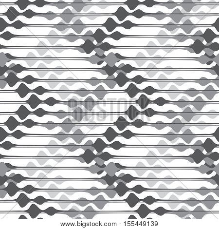 Vector pattern with different width horisontal lines. Repeating abstract texture with rhombus motif. Monochrome background.